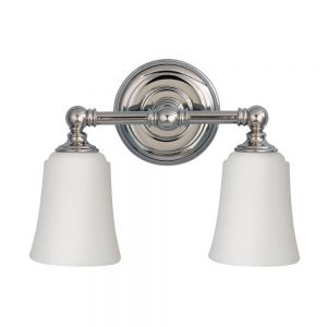 Chrome and Opal Glass Bathroom 2 Light Over Mirror Light - £120.00