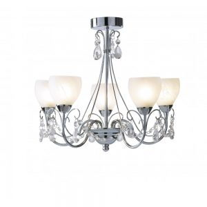 Bathroom Chandelier with Crystal Drops and Alabaster Shades - £195.00