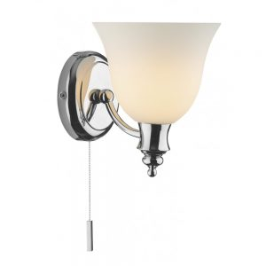 Chrome and Opal Glass Wall Light, Switched - £82.20