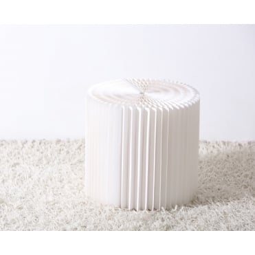 28cm Recyc LED Cardboard Stool or Side Table Natural White