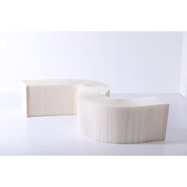 38cm Recycled Cardboard Bench, Low Side Board or Display Stand Natural White