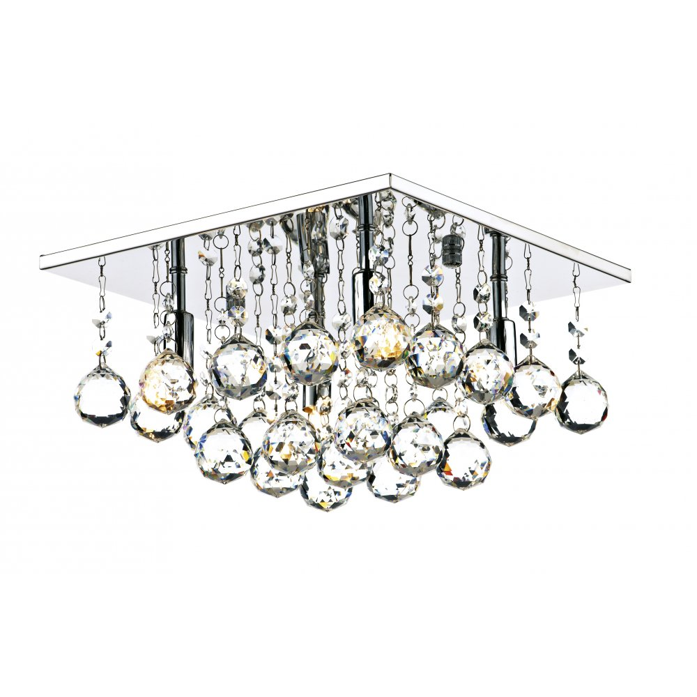 Square modern faceted crystal ceiling light ideal for low ceilings abacus 4 light flush ceiling fitting low ceiling light chrome aloadofball Gallery