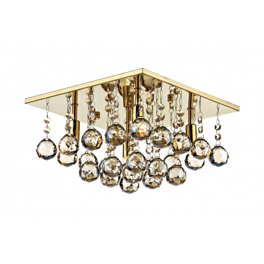 Abacus 4 Light Flush Ceiling Fitting Low Ceiling Light Gold
