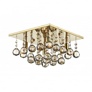ABACUS - 4 Light Flush Ceiling Fitting Low Ceiling Light Gold