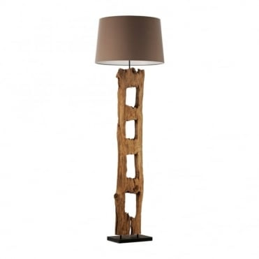 ABUJA - Floor Lamp Multicoloured in Brown, Wood/Wood Effect