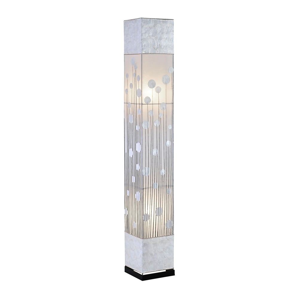 Abuja africa inspired floor lamp mother pearl shade floral pattern abuja floor lamp multicoloured in white creamivory aloadofball Choice Image