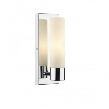 ADAGIO - Bathroom IP44 Polished Chrome Bathroom Wall Light With Opal Glass Shade