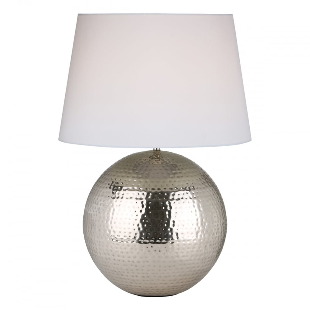 Round Hammered Metal Table Lamp Base Nickel Lighting And Lights Uk