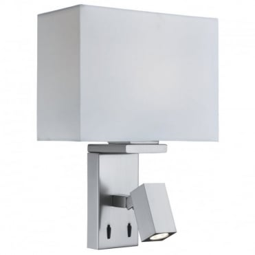 ADJUSTABLE - Wall 1 Light/Rectangle Arm LED Reading Light Sat , Switched