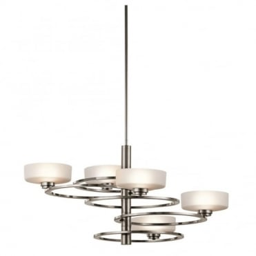 ALEEKA - 5 Light Chandelier in White, Chrome, Stainless Steel, Silver Art Deco Style