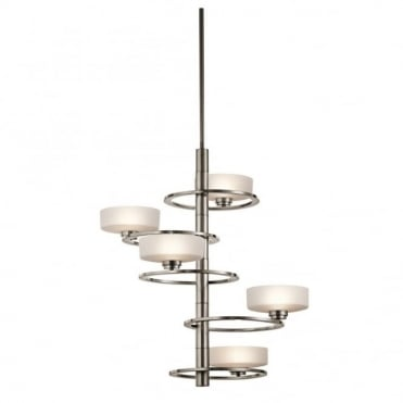 ALEEKA - Art Deco 5 Light Chandelier in White, Chrome, Stainless Steel, Silver