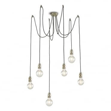 ALFREDO 6 Light Pendant Cluster Antique Chrome - Customisable Design