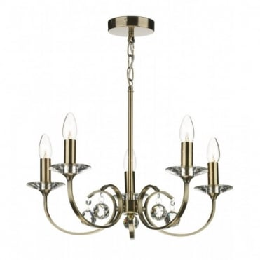 ALLEGRA - 5 Light Antique Brass Ceiling Pendant