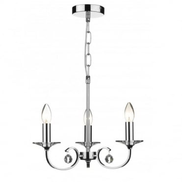 ALLEGRA - Dual Mount 3 Light Chrome Ceiling Pendant