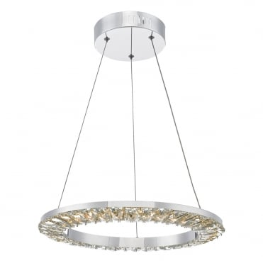 ALTAMURA Contemporary LED Ceiling Pendant Ring Polished Chrome and Crystal