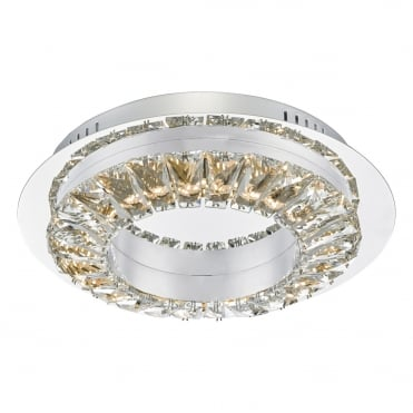 ALTAMURA Contemporary Polished Chrome and Crystal Flush Ceiling Light, Dimmable LEDs