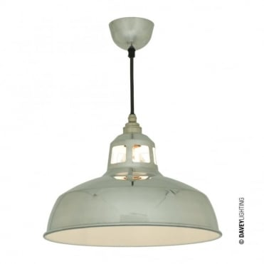 ALUMINIUM - Punch Ceiling Pendant Polished Aluminium White Interior