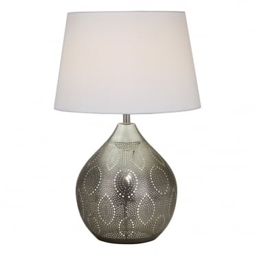 ALVARO Moroccan Pierced Antique Silver Table Lamp Base