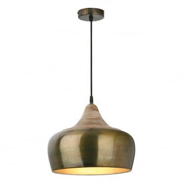 AMIEL Ceiling Pendant Antique Brass and Matte White