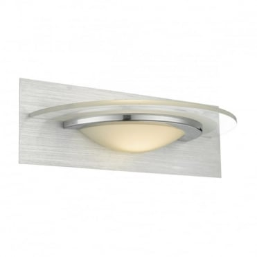 ANALYZE - Art Deco LED Wall Light Brushed Aluminium, Chrome and Frosted Glass with Switch