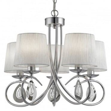 ANGELIQUE - 5 Light Ceiling Chrome White Ruff LED Shades