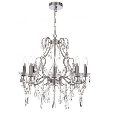 ANNALEE - Large Luxury Cinderella 8 Light Bathroom Chandelier Polished Chrome