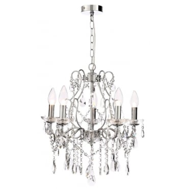 ANNALEE - Luxury Cinderella 5 Light Bathroom Chandelier Polished Chrome