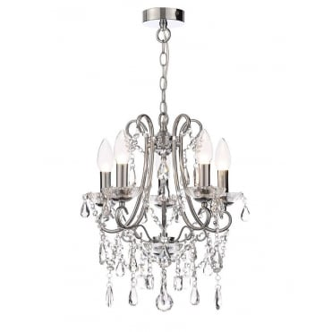 ANNALEE - Luxury Cinderella Compact 5 Light Bathroom Chandelier Polished Chrome