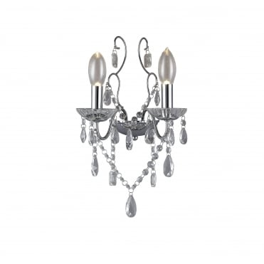 ANNALEE - Luxury Double Bathroom Wall Chandelier Polished Chrome