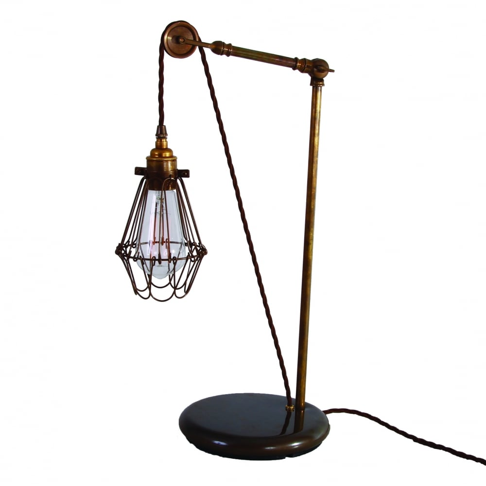 Apoch Pulley Cage Table Lamp In Antique Brass