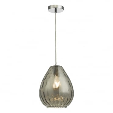 APULIA Smoked Dimple Glass Teardrop Ceiling Pendant