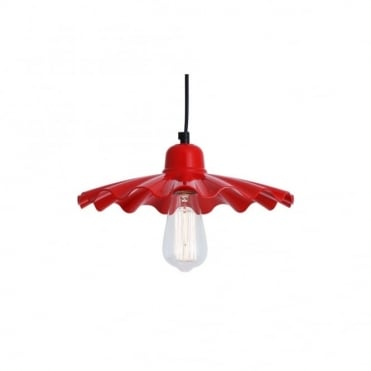 ARDLE - Modern Factory Ceiling Pendant In Powder Coated Red