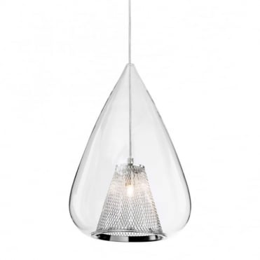 ARLO Pendant, Chrome with Clear Glass in Chrome