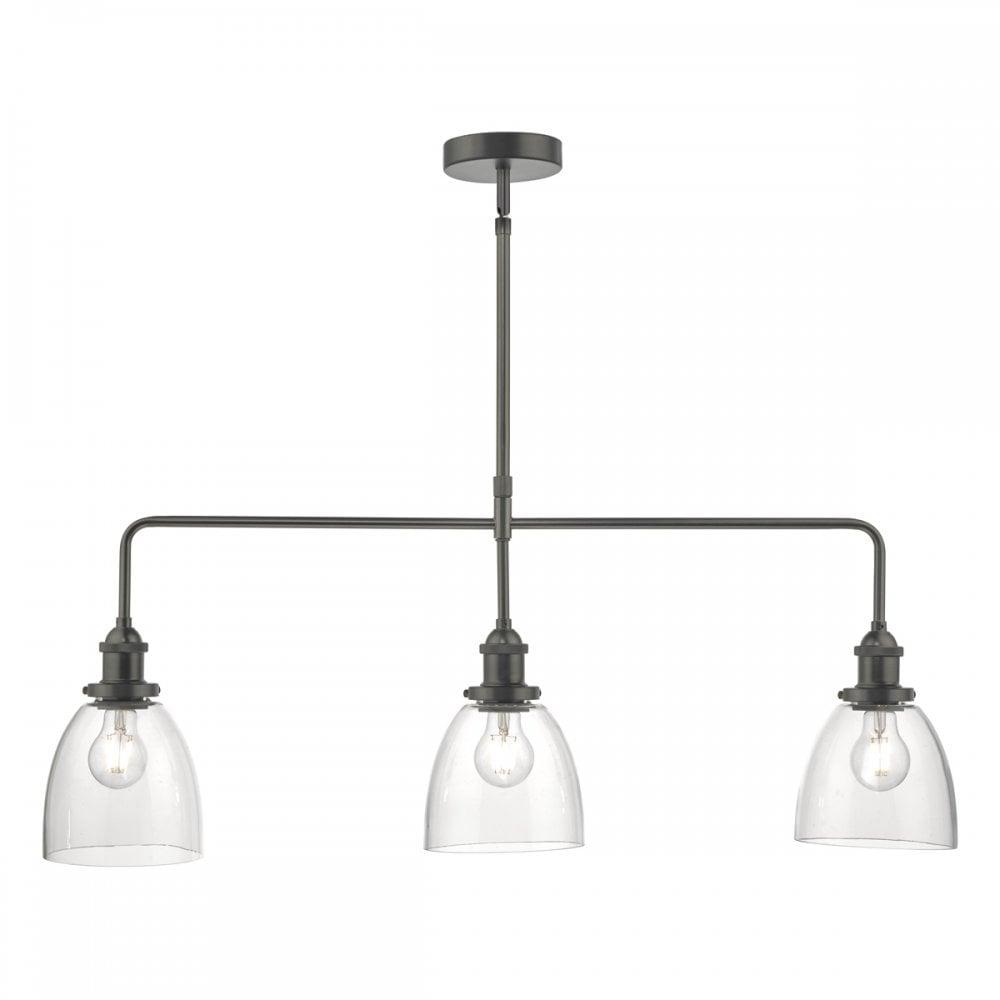 Arvin 3 light ceiling bar pendant antique chrome glass shades