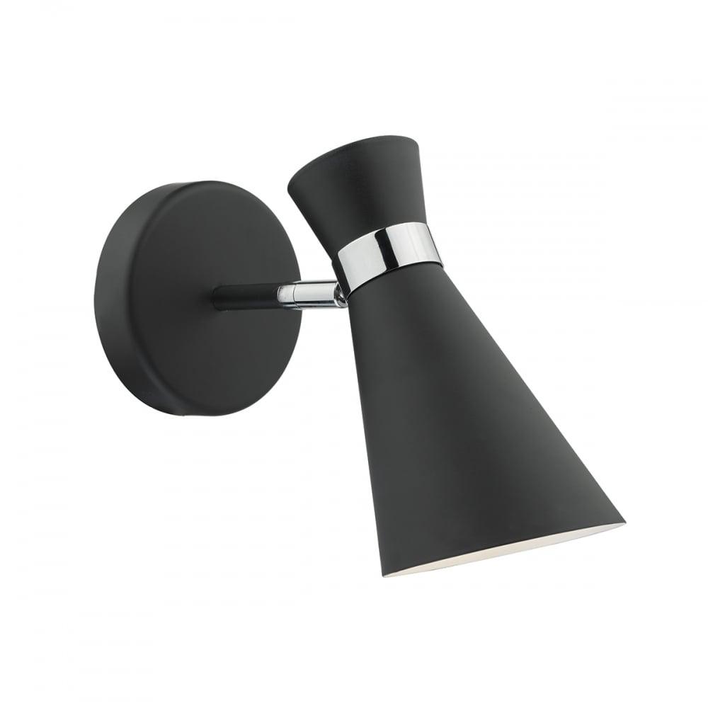 Sleek modern wall light black chrome bonnet lighting and lights uk ashworth 1 light wall bracket black polished chrome black switched aloadofball Image collections