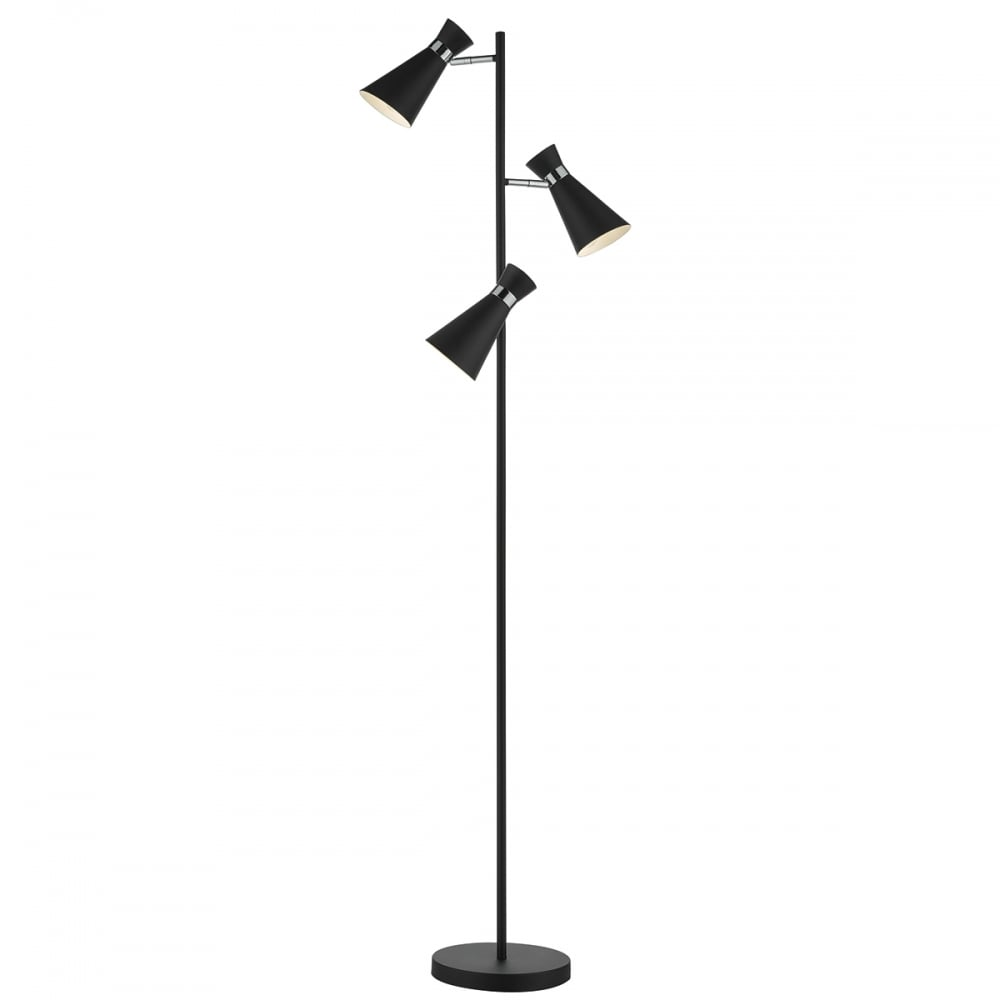 The lighting book ashworth 3 light floor lamp black polished chrome black