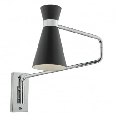 ASHWORTH - Wall Light Black Chrome , Switched