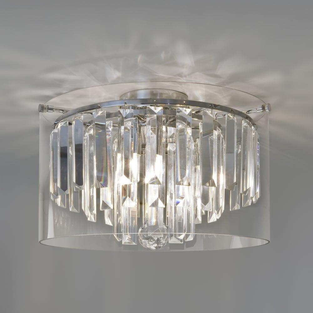 crystal glass flush bathroom ceiling light lighting and lights uk