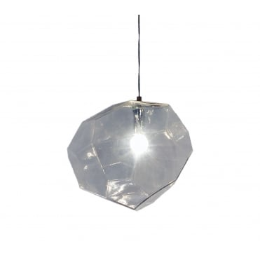 ASTEROID - Modern Ceiling Pendant in Geometric Clear Glass