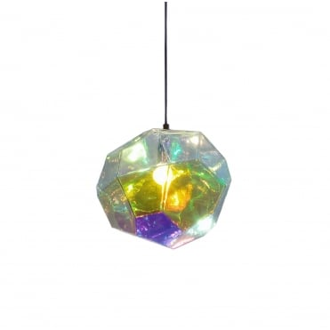 ASTEROID - PENDANT Petrol Glass with Iridescent Coating