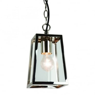 CALVI - Outdoor Box Lantern Pendant In Polished Nickle