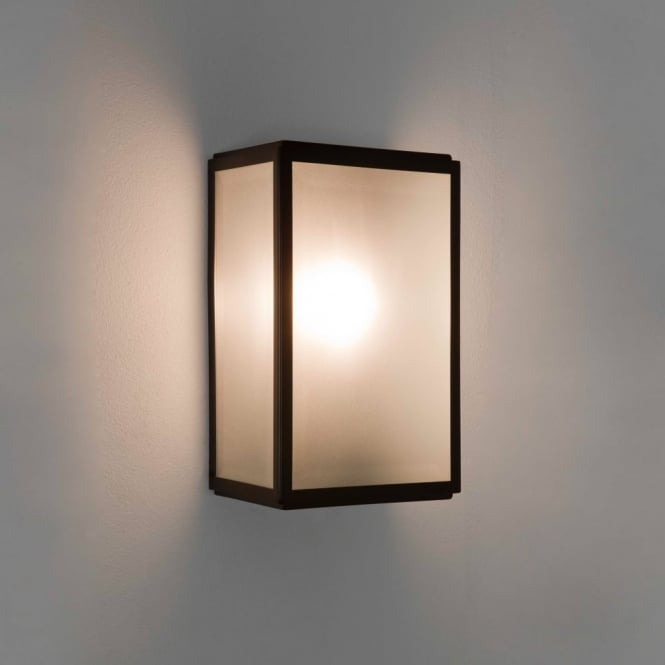 HOMEFIELD - Outdoor Square Box Wall Light Black with Frosted Glass