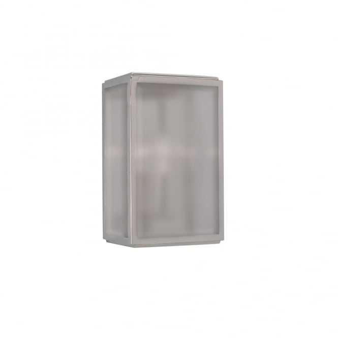 Astro HOMEFIELD - Outdoor Square Box Wall Light Polished Nickel with Frosted Glass