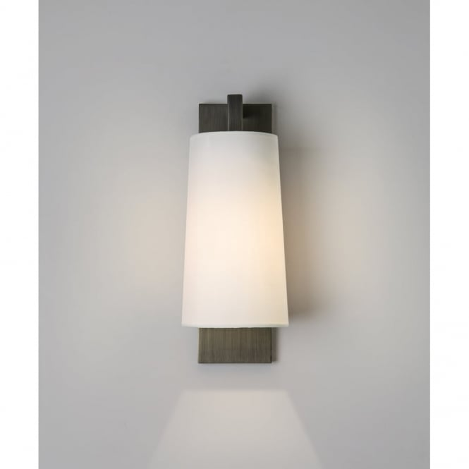 LAGO - Contemporary Bathroom Wall Light In Bronze With Opal Glass