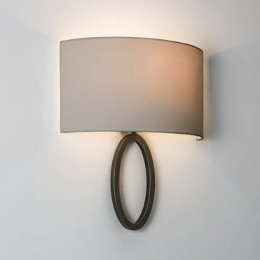 LIMA - Contemporary Flush Bronze Ring Wall Light With Oyster Shade