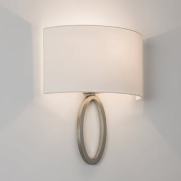 LIMA - Modern Matt Nickel Wall Light With Curved White Shade