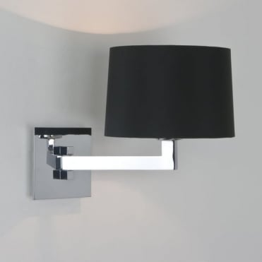 MOMO - Single Swing Arm Contemporary Wall Light With Shade IP44 (Chrome)