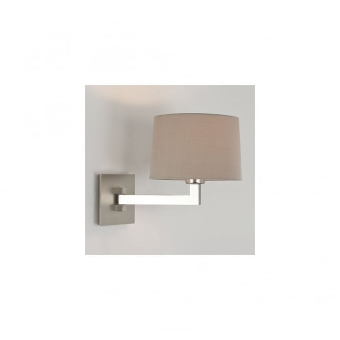MOMO - Single Swing Arm Contemporary Wall Light With Shade IP44 (Matte Nickel)