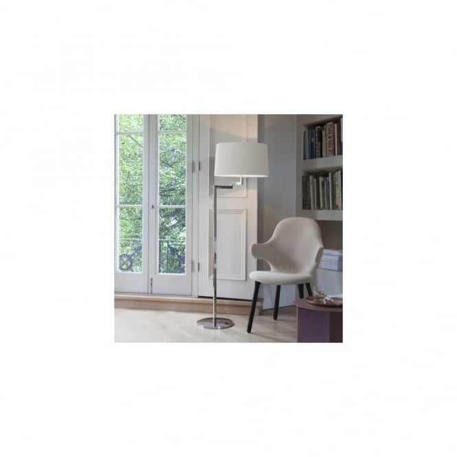 MOMO - Swing Arm Brushed Stainless Steel Floor Lamp - Round White Shade