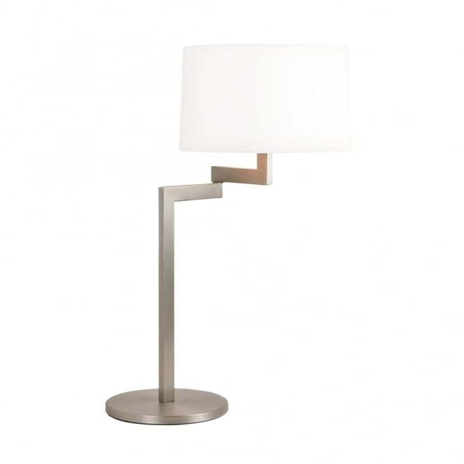 Astro MOMO - Swing Arm Brushed Stainless Steel Table Lamp - Round White Shade